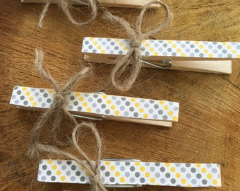 Party Favors, Party Clothespins, Party decor, Gift Wrap Accessory, Banner hanger, Polka Dotted Clips, Chip Clips, Kitchen Fun Tools