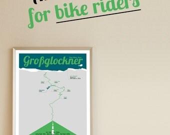 A3 Poster, Großglockner Hochalpenstraße, Fahrrad Plakat, Geburtstagsgeschenk, Geschenk für Männer, Geschenk für Frauen,Valentinstag,Vatertag