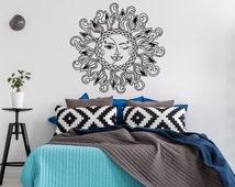 Sun And Moon Vinyl Wall Decal Bedroom- Sun Moon Stars Wall Decal- Sun And Moon Decor Boho Bohemian Wall Decals Headboard Bedroom Dorm #45