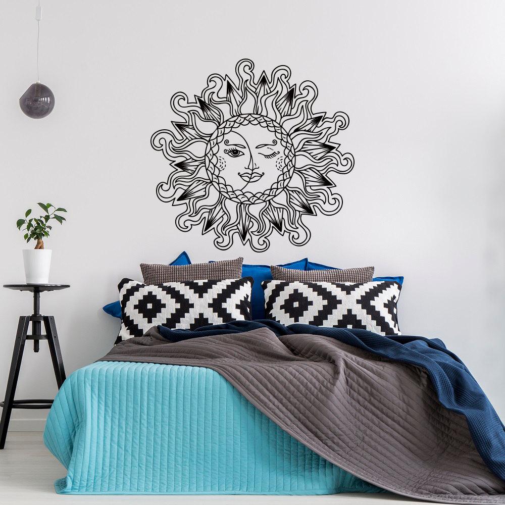 sun and moon vinyl wall decal bedroom sun moon stars wall. Black Bedroom Furniture Sets. Home Design Ideas