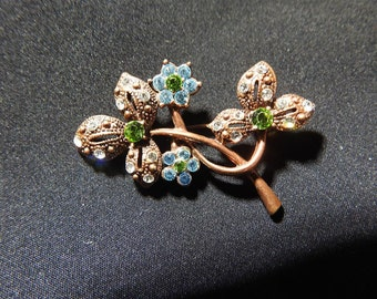 stunning rare copper and rhinestone flower brooch