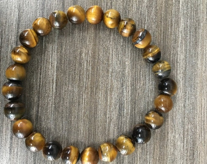 8mm Tiger Eye Bracelet Healing Crystal Natural Stone Healing Jewelry Positive Energy