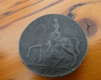 Antique Button 1792 Coventry Halfpenny Coin/Token Lady Godiva