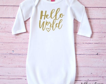 Hello World infant gown - Baby shower gift - Baby gift - Infant gown - Newborn gift - New Baby - Newborn gown - Newborn outfit
