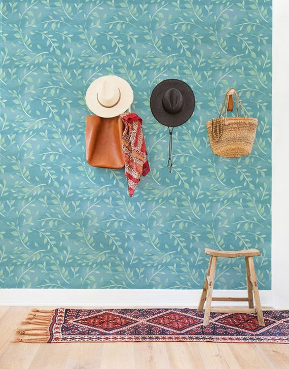 Boho Decal Leaves Wallpaper Watercolor Removable Wallpaper