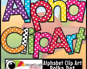 Alphabet Clip Art, Polka Dot Letters, Digital Alphabet, Printables