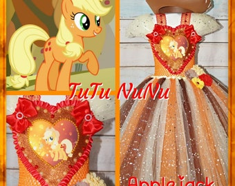 Handmade Girls Applejack My Little Pony Tutu Dress