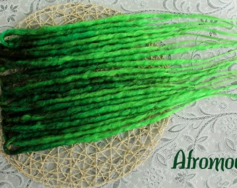 """Double Ended Synthetic Dreads """"Green Bomb Set"""" by Afromod"""