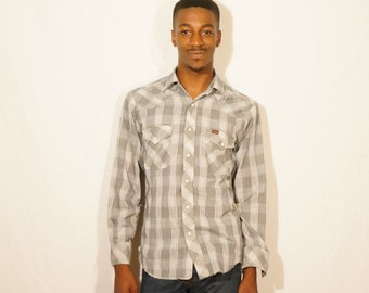 Vintage Wrangler B&W Button Snap Lightweight Long Sleeve Shirt