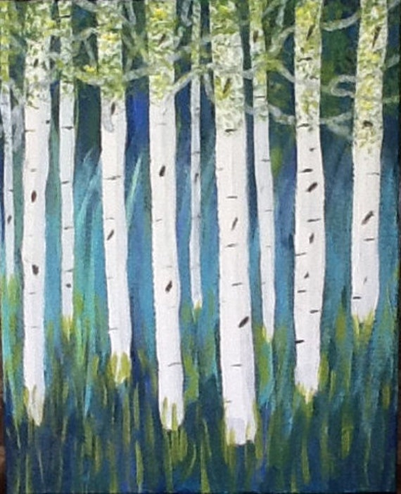 Aspen Stand   original hand painted artwork, wall art aspen trees, turquoise and green and white painting