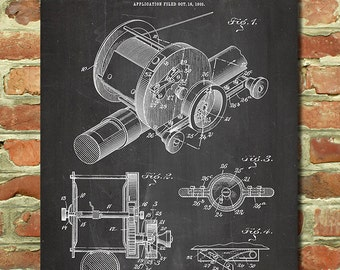 Fly Fishing Gift Idea, Fly Fishing Art, Gift Ideas for Dad Birthday Gift Idea, Fly Fishing Poster, Fly Fishing Reel, Fishing Patent P178