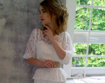 Lace wedding blouse, lace top