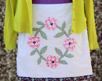 """Slater and Slater Designs: Handmade """"Tabby Tombola"""" Apron, Quilted Applique Waist/Bistro/Half Apron, Upcycled, Bespoke, Unique."""
