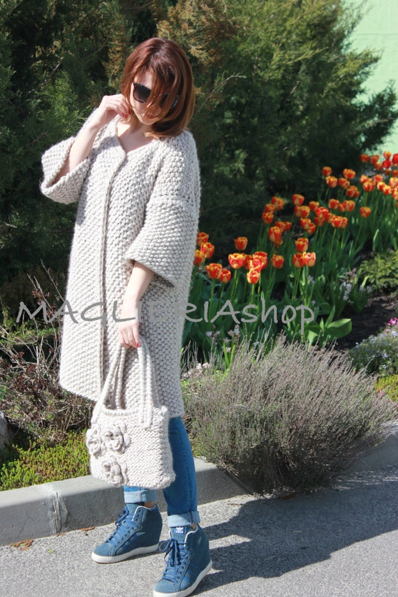 Classical hand-knitted cardigan