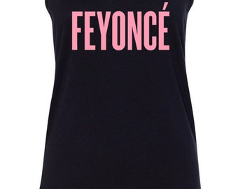 FEYONCE - Black Tank Top Racerback Ladies Beyonce Bride All Sizes S-XL