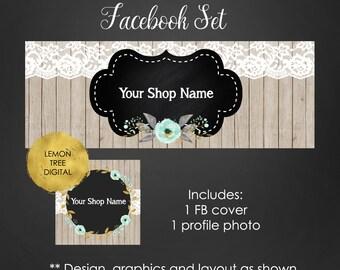 Facebook banner, facebook banner set, floral banner, wood banner, facebook graphics, store graphics, facebook timeline cover