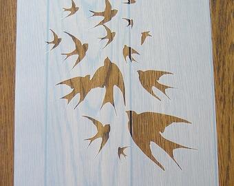 Birds in Flight Stencil Mask Reusable Mylar Sheet for Arts & Crafts