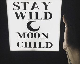 neon light sign, custom neon sign, wall decor, night light, stay wild moon child, light up sign, table light, moon decor, welcome sign