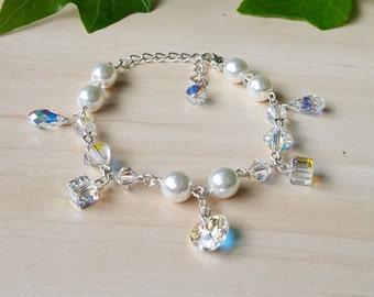 Bracelet Swarovski elements silver plated