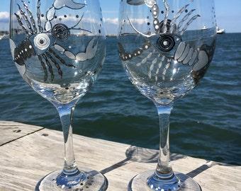 Lobster Love Wine Glass Set (2)