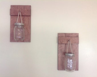 Rustic Hanging Mason Jars Set of 2