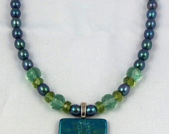 Sea Blue Freshwater Pearls & Faceted Fluorite with Iridized Glass Pendant