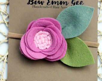 PIXIE Fuchsia felt flower headband || Felt Flowers || Nylon headband || One size fits all (baby - adult) || bowemmgee