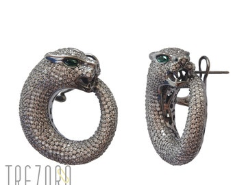 Ouroboros Earrings | 925 Sterling silver | Cubic Zirconia | Night Out Collection | Free Gift Box | Free delivery Australia and New Zealand