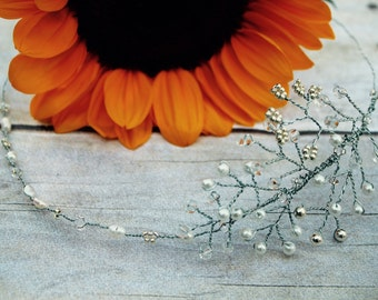 Feather Bridal Headband, Beaded Headband, Bridal Headband