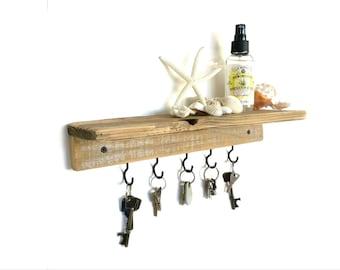 Reclaimed Wood Floating Shelf - key holder key hook shelf key hanger key hook rack floating shelves wall shelf wood shelf entryway organizer
