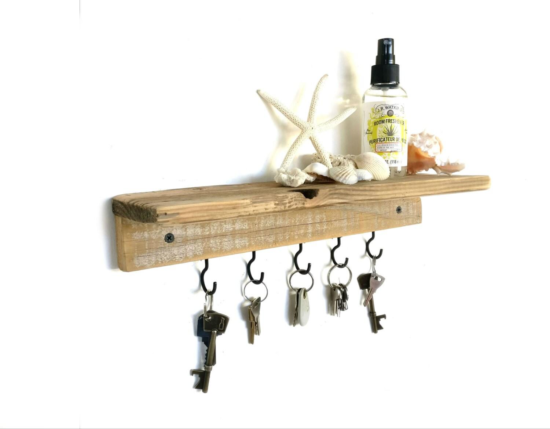 reclaimed wood floating shelf key holder key hook shelf key. Black Bedroom Furniture Sets. Home Design Ideas