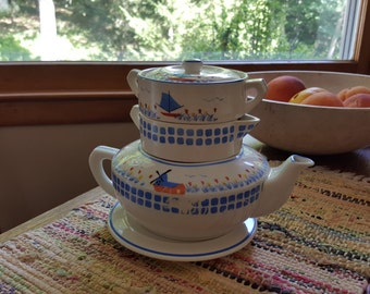 Stacked Vintage Teapot Sugar Bowl Creamer Blue Mill Japan Hand Painted Tulips And Windmill Very Fine Set