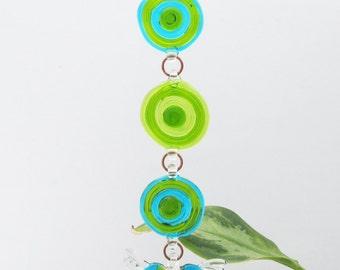 Green and Aqua Blue Glass Heart Suncatcher