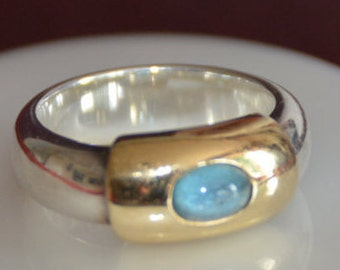 Silver and Gold Band Ring inlaid with Aquamarine - Links of London