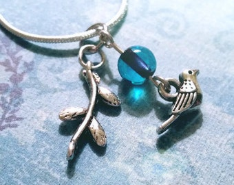 Bird Necklace / Boho Necklace / Vintage Necklace / Charm Necklace / Bird 3-Charm Necklace / Silver Necklace