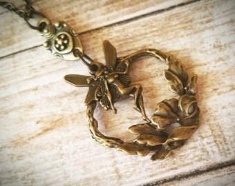 Fairy Necklace / Boho Necklace / Vintage Necklace / Charm Necklace / Bronze Fairy Necklace / Fairy Jewelry