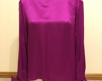 Celine Vintage Magenta Silk Blouse 80's