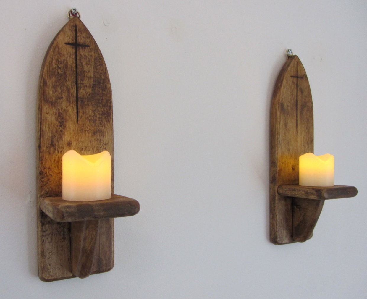 Pair of 30cm tall Gothic style wall sconce candle holders with