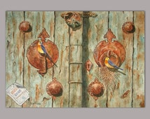 Old Doors, original, watercolour painting, 36x50cm, traditional piece, gorgeous artwork, suitable for gift, Persian art, by Mohammad Shokri