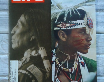 Native American decor - Native American Life Magazine - Vintage Life Magazine - Retro Native American - Old Native American image - Indian