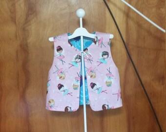 Reversible Vest, Girls, Size 6, Pink Ballerina's, Frozen, Sparkles, Back to School, Puperita Pattern
