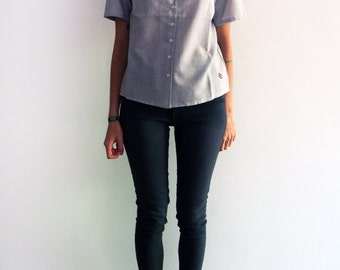 Striped shirt top blouse - white and gray pattern