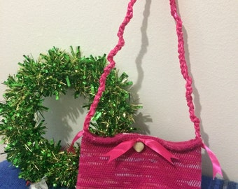 Precious Pink Handmade Bag with Braided Shoulder Strap and Seashell/Bow Embellishment - Velcro Clasp