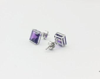 Amethyst Square | Amethyst Earrings | Amethyst Stud Earrings | Purple Stud Earrings | Purple Stone Earrings | Sterling Silver Earrings