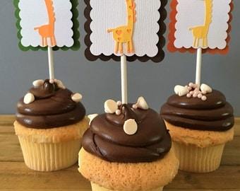 12 Giraffe Cupcake Toppers, Giraffe Cake Topper, Giraffe Baby Shower, Giraffe decoration, giraffe party decoration, Safari party decoration