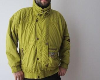 Vintage Mens Ski Jacket Mustard Green Snow Jacket Hipster Ski Jacket Winter Activewear Sport Jacket Large Size Ski Jacket