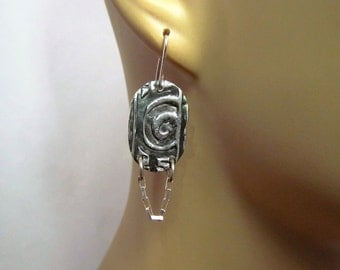 999 Fine Silver Handcrafted Dangle Chain Earrings Hand sculpted PMC- Item 4700-2