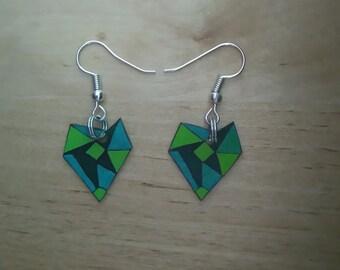 Green origami heart earrings