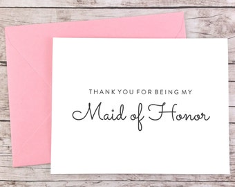 Thank You For Being My Maid of Honor Card, Maid of Honor Thank You Card, Wedding Card, Maid of Honor Gift - (FPS0016)
