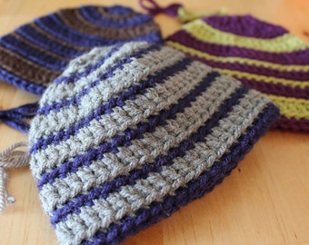 Striped Custom Crocheted Baby Toddler Toboggan
